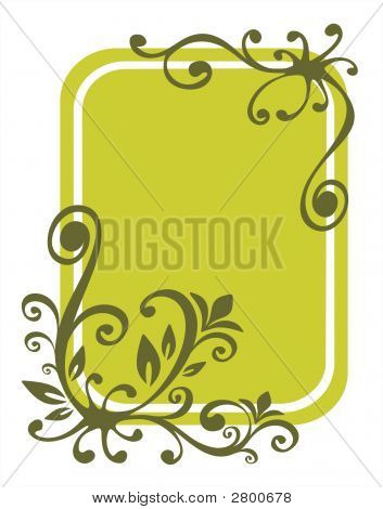 Green stylized floral pattern on a green background. poster