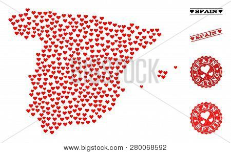 Collage Map Of Spain Designed With Red Love Hearts, And Rubber Stamp Seals For Dating. Vector Lovely