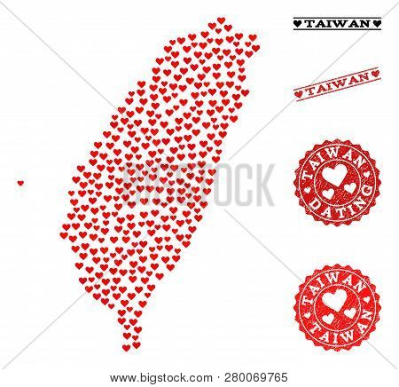 Collage Map Of Taiwan Composed With Red Love Hearts, And Rubber Watermarks For Dating. Vector Lovely