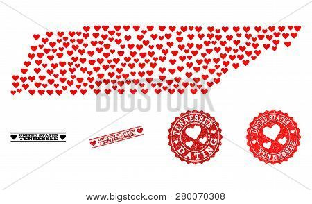 Mosaic Map Of Tennessee State Created With Red Love Hearts, And Grunge Watermarks For Dating. Vector