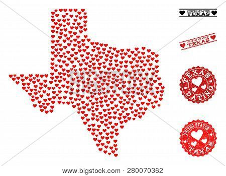 Collage Map Of Texas State Composed With Red Love Hearts, And Rubber Watermarks For Dating. Vector L