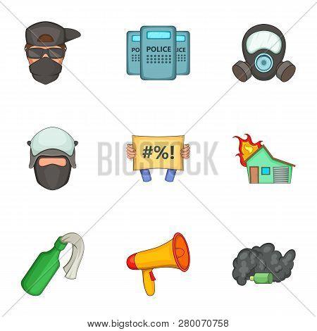 Revolt Icons Set. Cartoon Set Of 9 Revolt Icons For Web Isolated On White Background