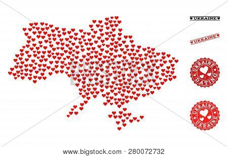 Collage Map Of Ukraine Designed With Red Love Hearts, And Grunge Stamp Seals For Dating. Vector Love
