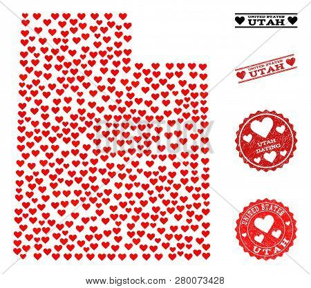 Collage Map Of Utah State Formed With Red Love Hearts, And Grunge Stamp Seals For Dating. Vector Lov