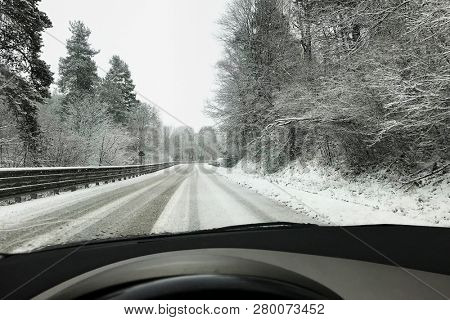 Dangerous winter road.Concept for transportation, cars and travel.