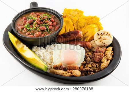 Traditional Colombian Dish Called Banda Paisa: A Plate Typical Of Medellin That Includes Meat, Beans
