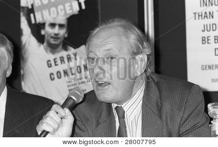 LONDON-JUNE 11: Christopher Price, Labour Member of Parliament for Lewisham West, speaks at a press conference on June 11, 1990 in London.