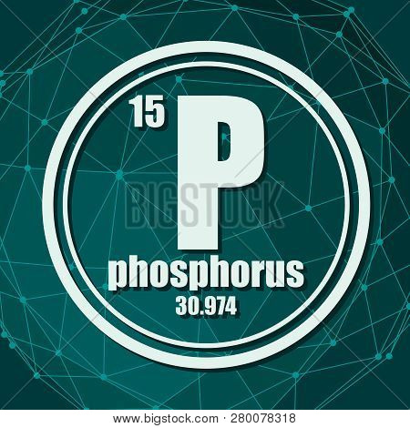 Phosphorus Chemical Element. Sign With Atomic Number And Atomic Weight. Chemical Element Of Periodic