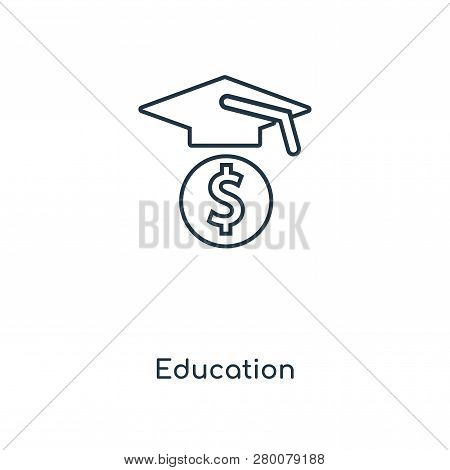 Education Icon In Trendy Design Style. Education Icon Isolated On White Background. Education Vector