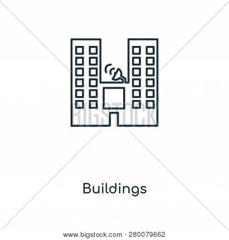 Buildings Icon In Trendy Design Style. Buildings Icon Isolated On White Background. Buildings Vector
