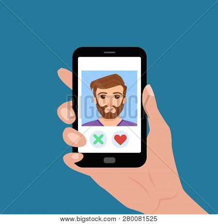 Hand Holding Phone With Guy On The Screen. Vector Illustration Of Online Dating App