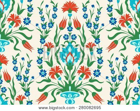 Ornate Floral Background In Turkish Style, Seamless Pattern