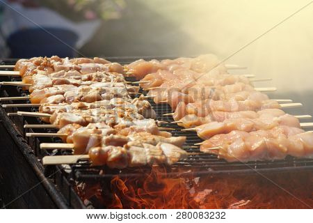 Japanese Chicken Grill Yakitori Set . Fire And Smoke At Sunny Day