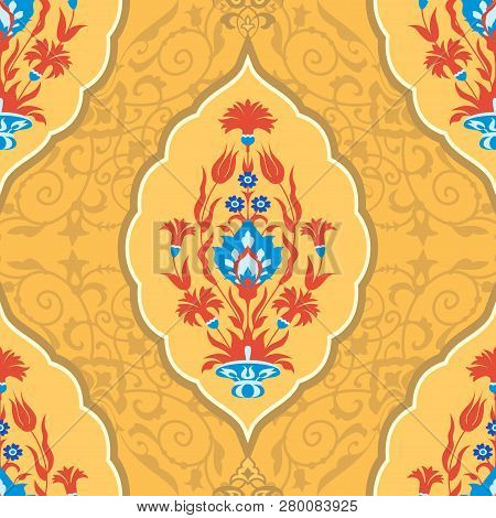 Traditional Floral Background In Muslim Style, Seamless Pattern