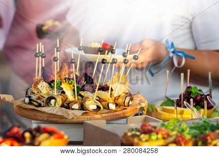Outdoor Cuisine Culinary Buffet Dinner Catering. Group Of People In All You Can Eat. Dining Food Cel