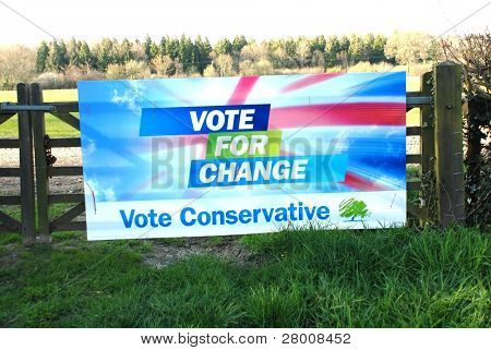 ROLVENDEN, ENGLAND - APRIL 23: A Conservative Party election poster on a farm gate on April 23, 2010 in Rolvenden, Kent. The British General Election will be held on May 6, 2010.