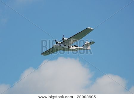 EASTBOURNE, ENGLAND - AUGUST 14: A Catalina seaplane performs at the Airbourne airshow on August 14, 2010 at Eastbourne, East Sussex. The annual event attracts thousands of visitors.