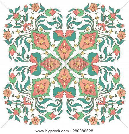 Ornate Floral Design In Arabic Style, Vector Illustration