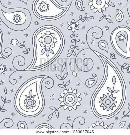 Paisley And Flowers Seamless Pattern, Background In Indian Style