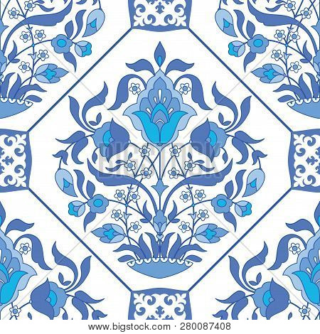 Ornate Tile Background In Arabic Style. Samless Floral Pattern In Blue And White