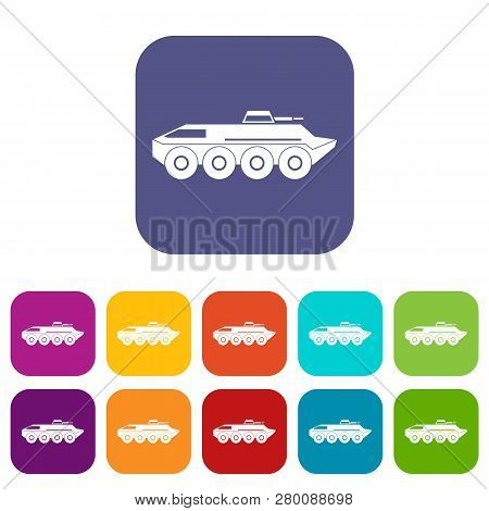 Armored Personnel Carrier Icons Set Illustration In Flat Style In Colors Red, Blue, Green, And Other