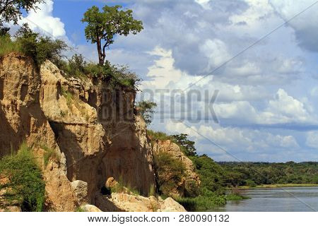 The Cliffs That African Bee Eaters Live In Along The River Nile In Murchison Falls National Park