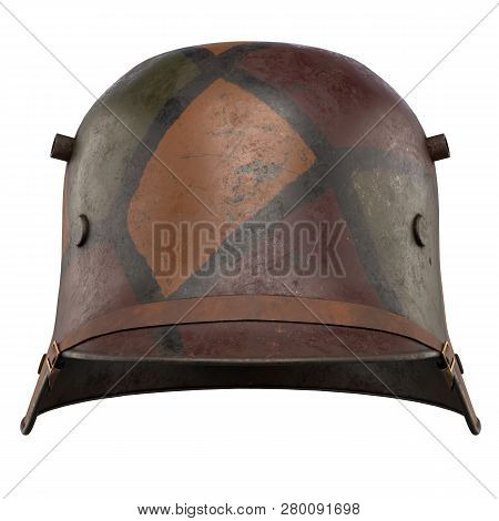 German Helmet Stahlhelm M1916 Of World War I, Used German Troops Ww1. Front View And Camouflage Colo