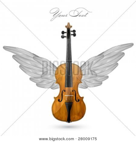 violin with wings - vector illustration