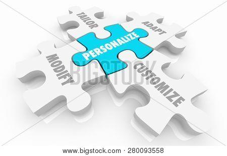 Personalize Customize Unique Puzzle Pieces Words 3d Illustration