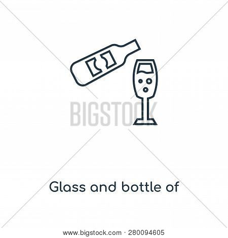 Glass And Bottle Of Wine Icon In Trendy Design Style. Glass And Bottle Of Wine Icon Isolated On Whit