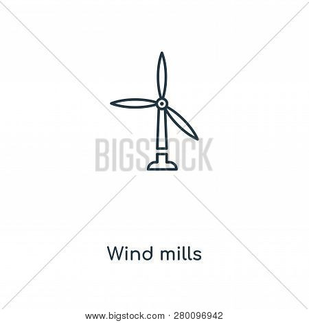 Wind Mills Icon In Trendy Design Style. Wind Mills Icon Isolated On White Background. Wind Mills Vec