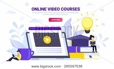 Online Education Concept. Video Courses, Video Lessons, Tutorials. Laptop With Opened Video, Books A