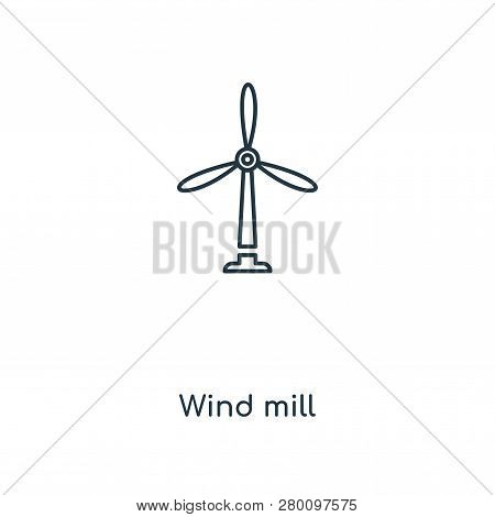 Wind Mill Icon In Trendy Design Style. Wind Mill Icon Isolated On White Background. Wind Mill Vector