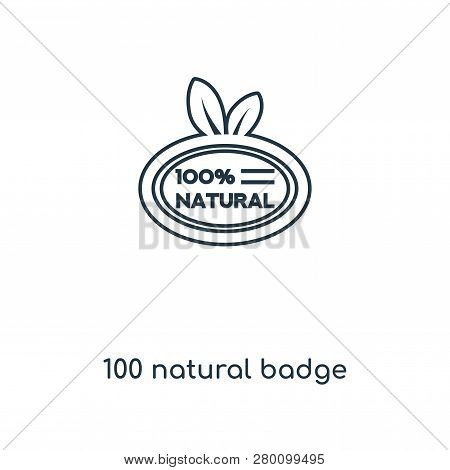 100 Natural Badge Icon In Trendy Design Style. 100 Natural Badge Icon Isolated On White Background.