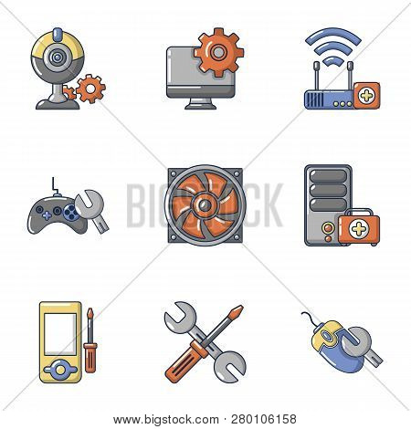 Pc Tech Icons Set. Cartoon Set Of 9 Pc Tech Icons For Web Isolated On White Background