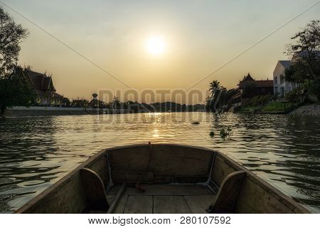 Chao Phraya River Scenery During Sunset Hours Taken From The Boat Ride. Ayutthaya, Thailand