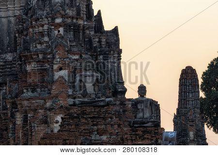 Buddhist Statues In Wat Chaiwatthanaram