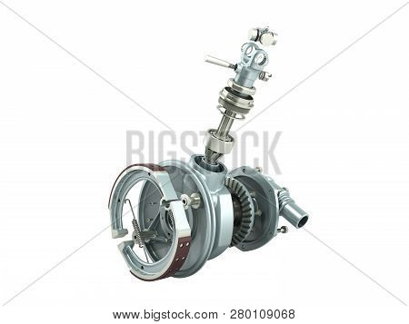 Truck Wheel Drive And Braking System 3d Render On White No Shadow