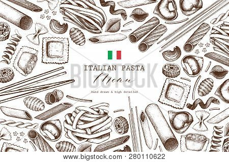 Vector Background With Traditional Italian Pasta Isolated On White. Hand Drawn Food Sketches.  Vinta