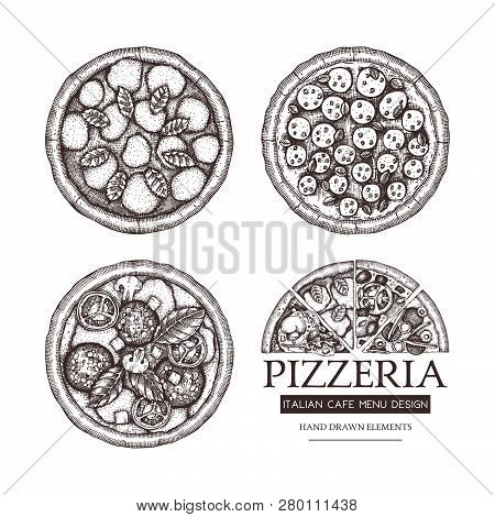 Vector Collection Of Hand Drawn Pizza  With Slice Sketches. Vector Italian Food Drawing. Engraving S