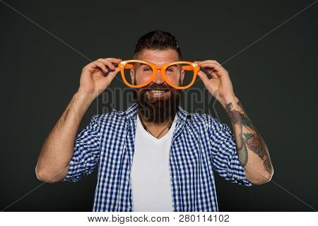 Man Brutal Bearded Hipster Wear Funny Eyeglasses Accessory. Human Strengths And Virtues. Positive Mo