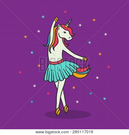 Unicorn Ballerina Dancing, Cute Baby Girl Wearing Light Blue Tutu Skirt For Ballet. Little Lovely Po