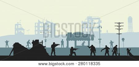 Zombie Apocalypse Scene. Silhouettes Of Soldiers And Dead Peoples. Military Landscape. Undead In Cit