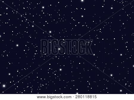Space With Stars Universe Space Infinity And Starlight Background. Starry Night Sky Galaxy And Plane