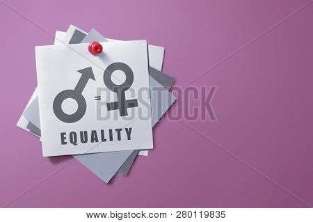 Colorful Note Paper With Symbol Of Gender Equality On Pink Wall Background. Equality Gender Concept