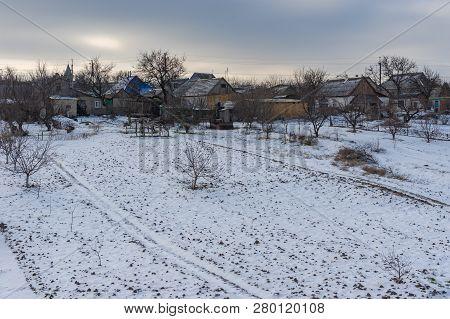 Winter Landscape With Peasant Houses And Their Backyards In Vasilyvka Town, Zaporizhia Oblast, Ukrai