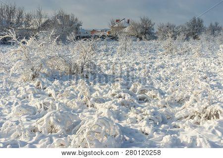 Winter Landscape In Ukrainian Village Novoaleksandrivka Near Dnipro City After Big Snowfall
