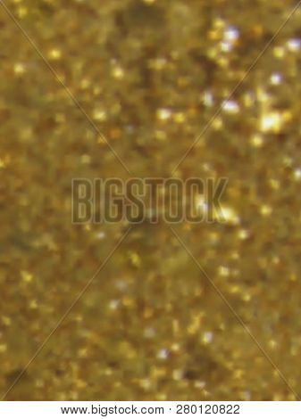 Vector Eps10 Gold Metal Effect With Blurred Glowing Particles. Abstract Background With Iridescent M