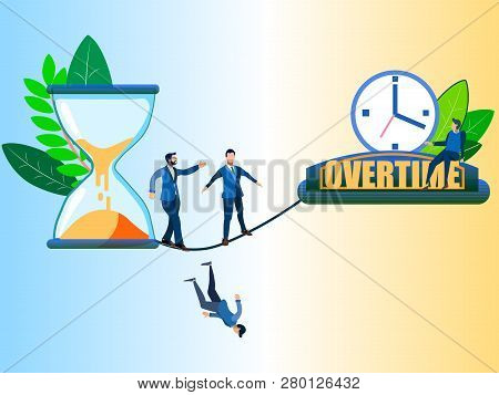 Overtime, Disambiguation. Abstract Concept, Businessmen Moving From An Hourglass. In Minimalist Styl