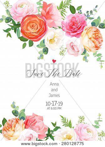 Floral Vector Design Vertical Frame.pink Rose, Orange Ranunculus, Juliet Garden Rose, Coral Carnatio